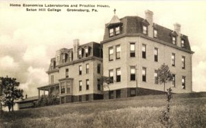 "Shown above is Saint Mary's School for Boys, labeled as the ""home economics laboratories and practice house."" Photo courtesy of the Seton Hill Archives."