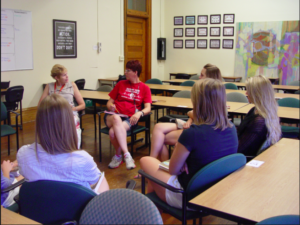 Students and faculty discussed The Book Thief is 2014. Photo from alumni.setonhill.edu.