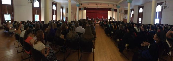 Students, faculty and other audience members watch Seton Hill's fall convocation in Cecilian Hall. Photo from Seton Hill Student Life's Facebook.