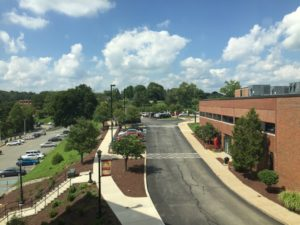 The view from the third floor of the Boyle Center overlooks the library and parking lots. Fondy said they will have the best view on campus once they move into the new floor. Photo courtesy of P.Parise.
