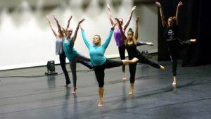 Dancers rehearse for student choreographer Chelsea Pawlak's piece. Photo courtesy of B.Malley.