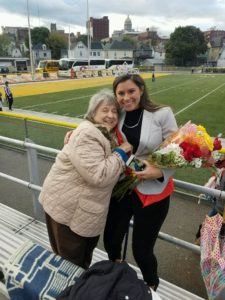 Emily Hutsko, right, hugs her grandmother, Pearl Hutsko, after being crowned Homecoming Queen. Hutsko's family traveled from Harrisburg to see her on the homecoming court. Photo courtesy of E.Hutsko.