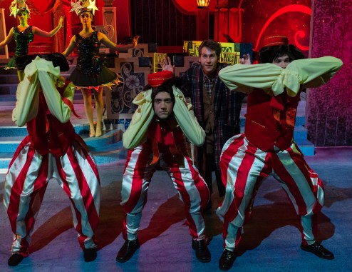 """Cast members Noah Telford, Joshua Daisley and Travis Miller dance in their monkey costumes during """"Bride's Lament."""""""