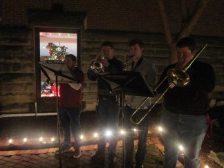 """Seton Hill student musicians performed """"O Come All Ye Faithful,"""" """"O Holy Night"""" and """"Hark! The Herald Angels Sing"""" at the crib ceremony."""