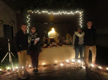 From left to right, Class of 2021 officers Matthew Alexander (treasurer), Caitlin Srager (secretary), Alexandrea Masocco (president) and Colin Torpey (vice president) pose for a picture next to the completed crib.