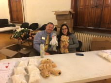Matt Zielinski, director of student development, and Christina Qawasmy, resident director, pose with some stuffed animals. Photo by C.Arida/Setonian.