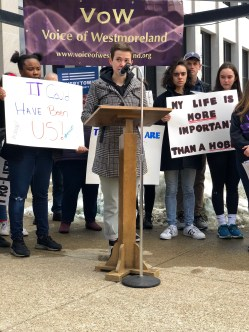 Meg Jones, 17, from Hempfield Area High School, speaks at the March for Our Lives rally in Greensburg on March 23.