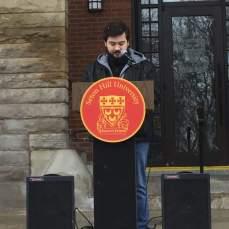 SHU freshman Mark Nealon speaks at beginning of SHU's walkout on March 14. Photo by L.Cowan/Setonian.