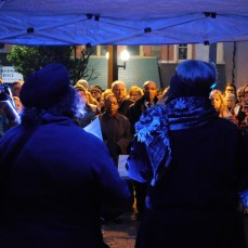 Members of the community listened to speakers throughout the candlelight vigil at the Westmoreland County Courthouse in Greensburg on Oct. 29 for the victims of the shooting at the Tree of Life synagogue in Squirrel Hill.