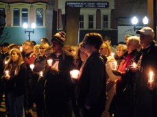 Members of the community hold their candles during the vigil at the Westmoreland County Courthouse in Greensburg on Oct. 29 for the victims of the shooting at the Tree of Life synagogue in Squirrel Hill.