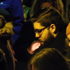Seton Hill University senior Sebastian Murabito reflects during the candlelight vigil at the Westmoreland County Courthouse in Greensburg on Oct. 29 for the victims of the shooting at the Tree of Life synagogue in Squirrel Hill.