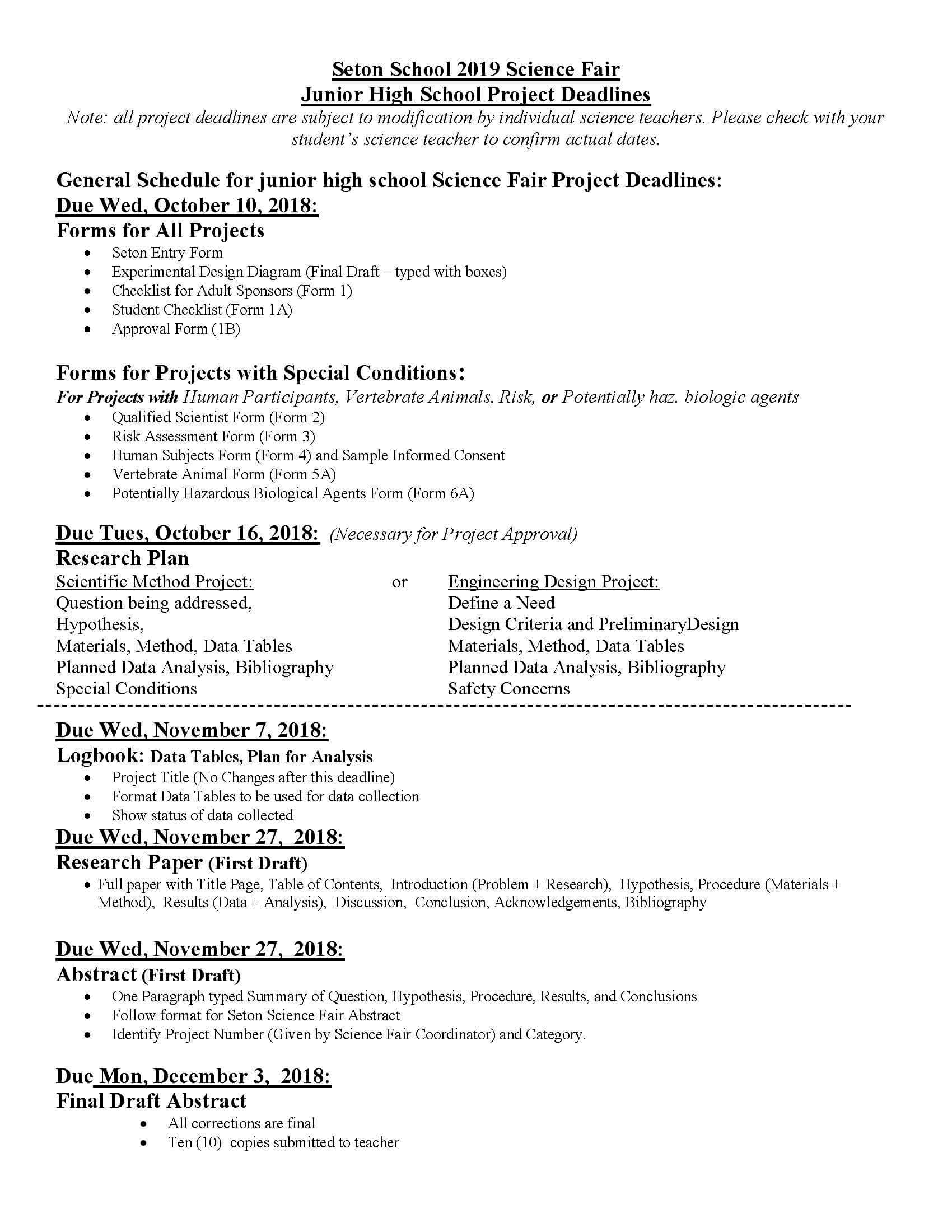 Science Fair Project Table Of Contents Example Project