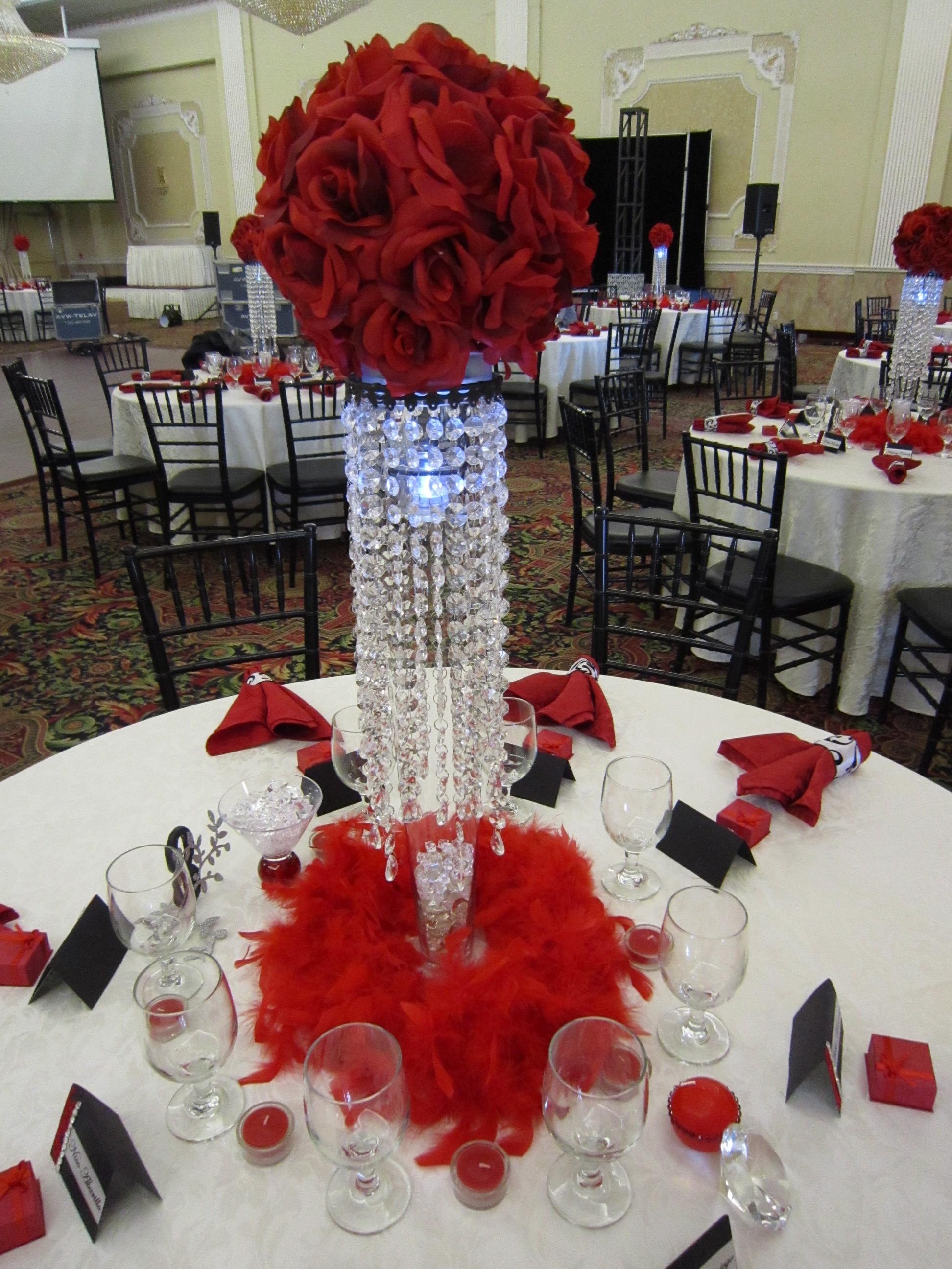 red rose flower balls  Set The Mood Decor