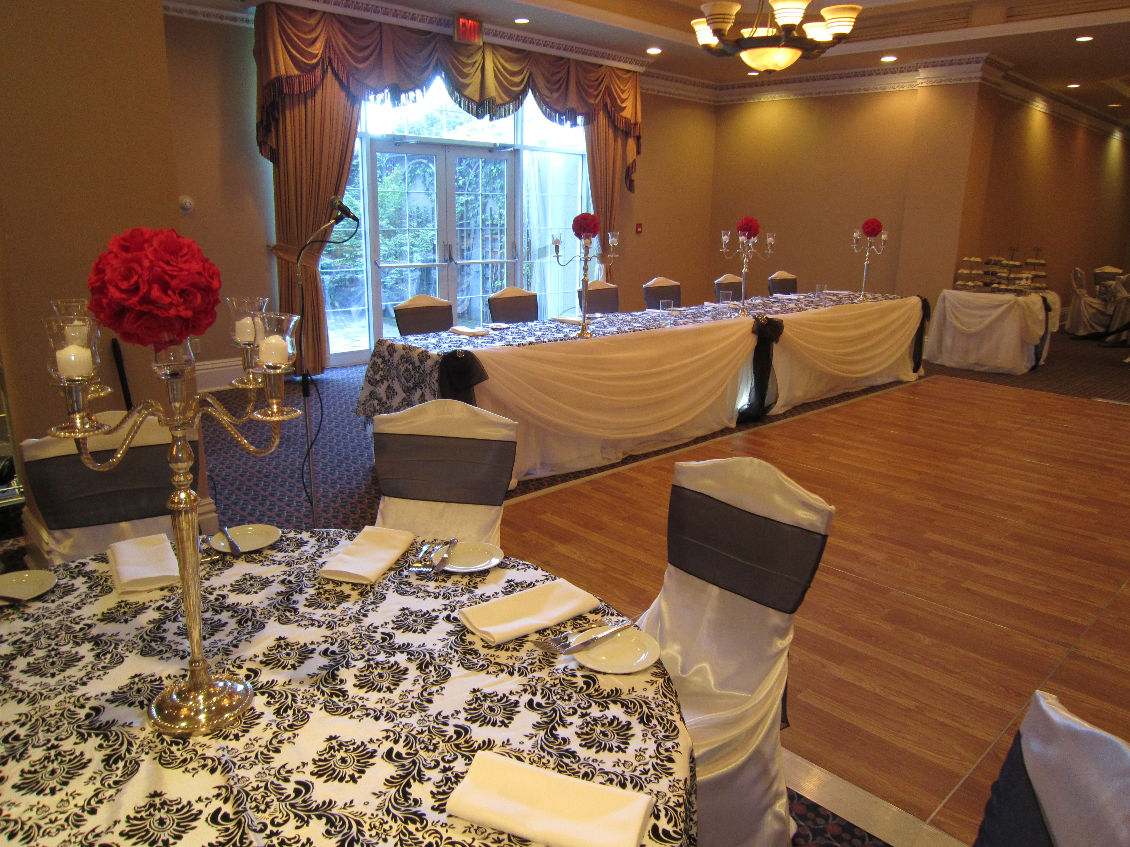 chair covers hamilton ontario series 7 black and white head table draping | set the mood decor