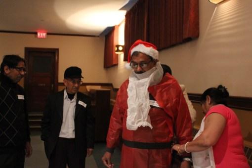 Dressing up as Santa Claus