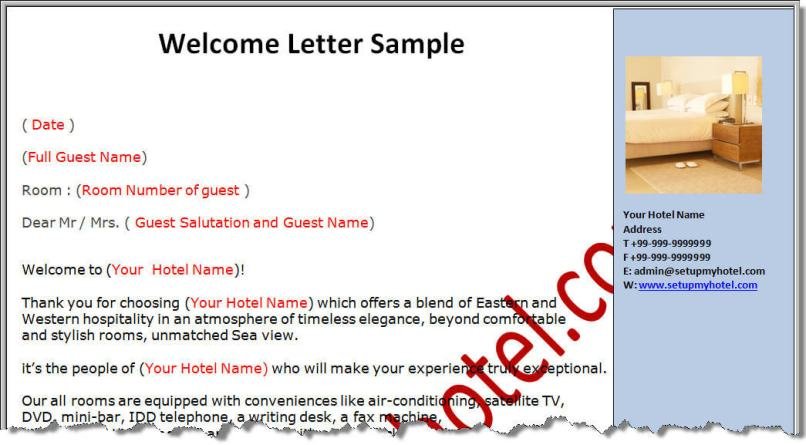 Welcome letter hotel example inviview welcome letter for hotel guests spiritdancerdesigns Images
