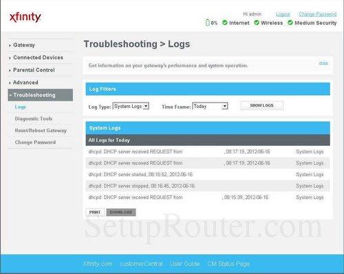 Arris TG862GCT Screenshots