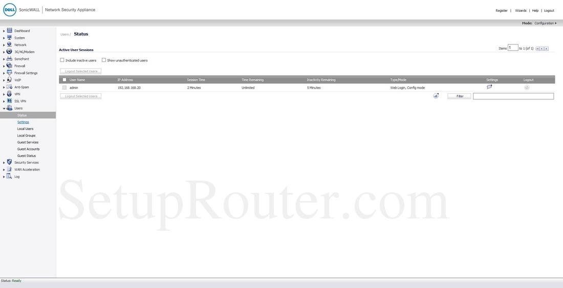 Dell SonicWALL TZ-150 Screenshot UsersStatus