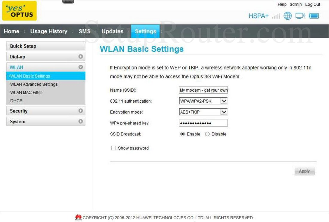 Huawei E5331 Screenshot WLAN Basic Settings