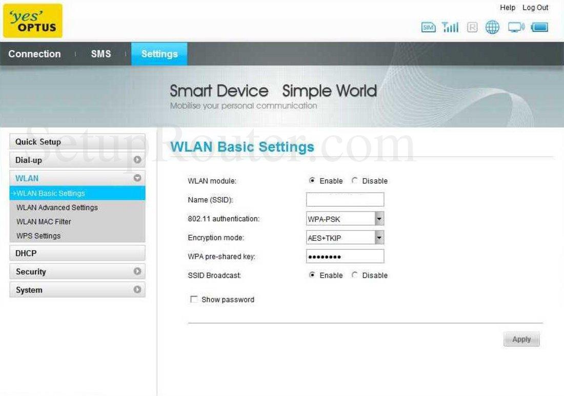 Huawei E586 Screenshot WLAN Basic Settings