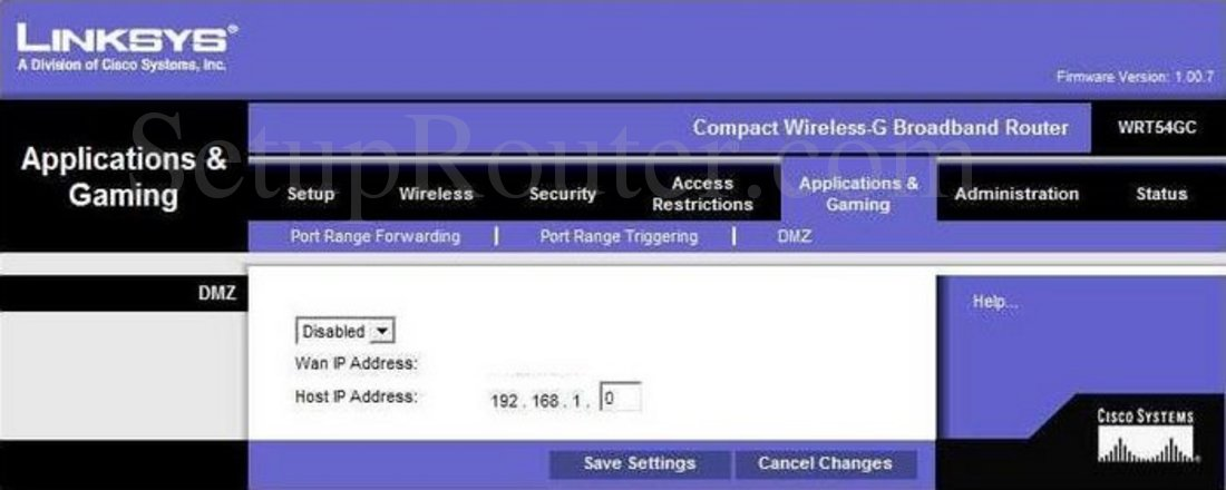 Linksys WRT54GC Screenshot DMZ