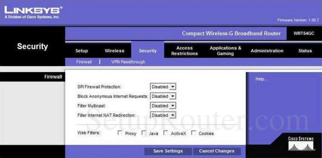 Linksys WRT54GC Screenshot Firewall