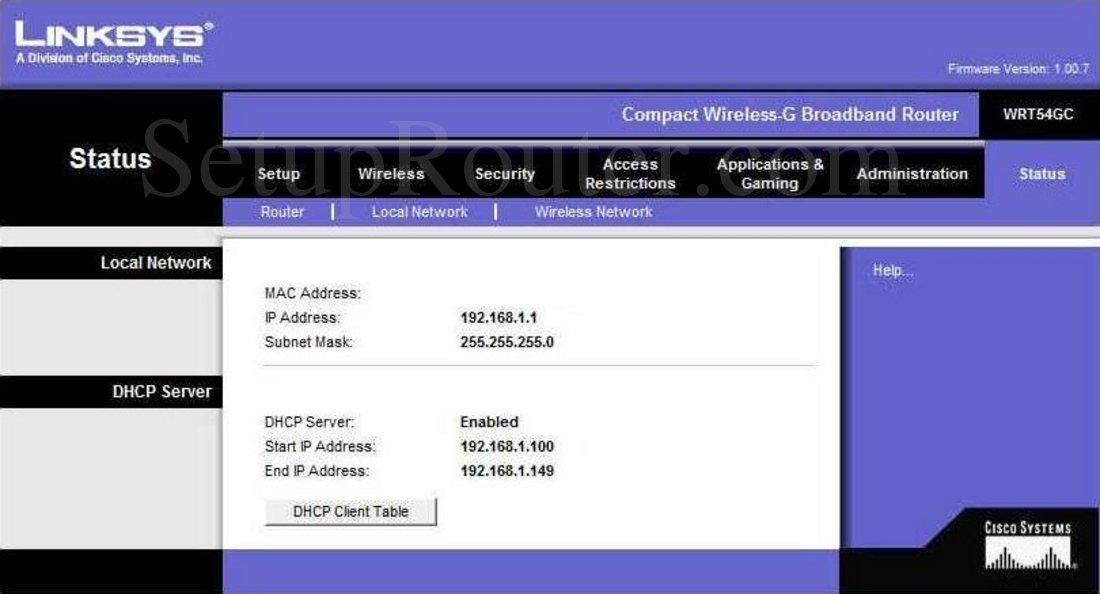 Linksys WRT54GC Screenshot Local Network