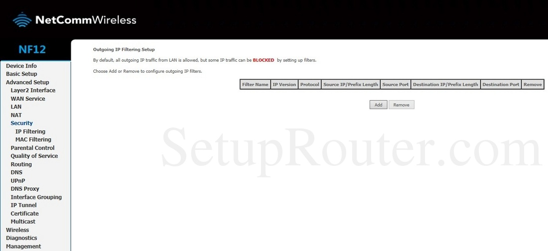 NetComm NF12 Screenshot OutgoingIPFiltering