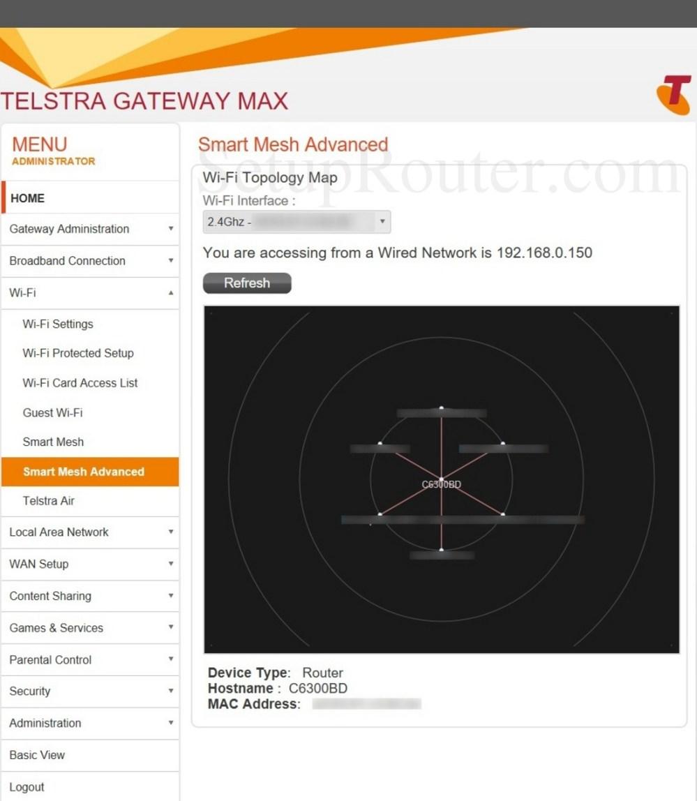 medium resolution of keywords on the netgear c6300bd 202 telstra smartmeshadvanced screenshot