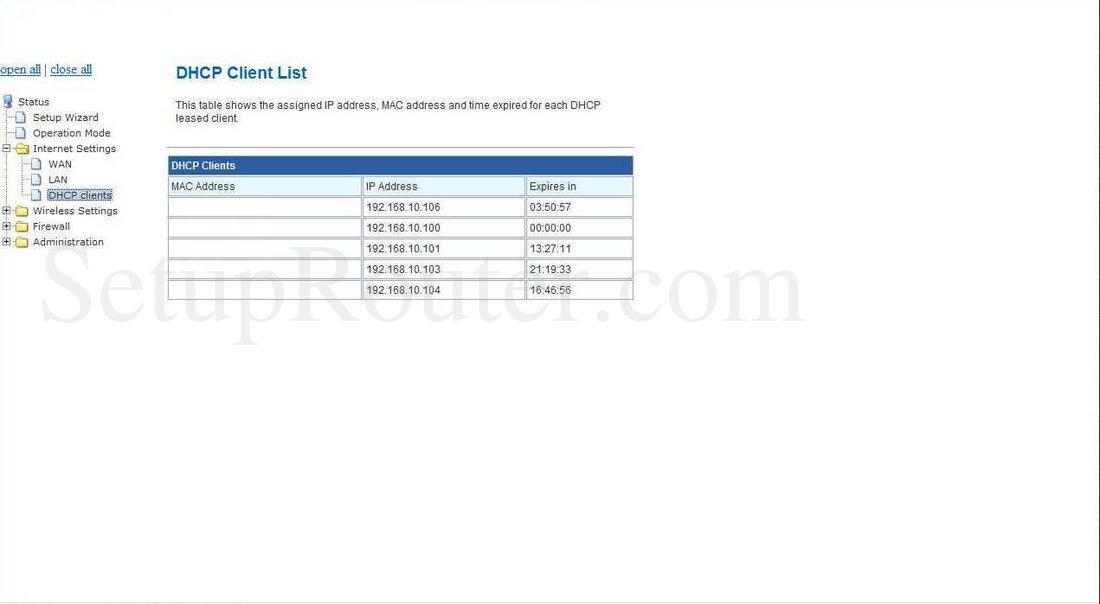 Prolink WNR1006 Screenshot DHCP Client List