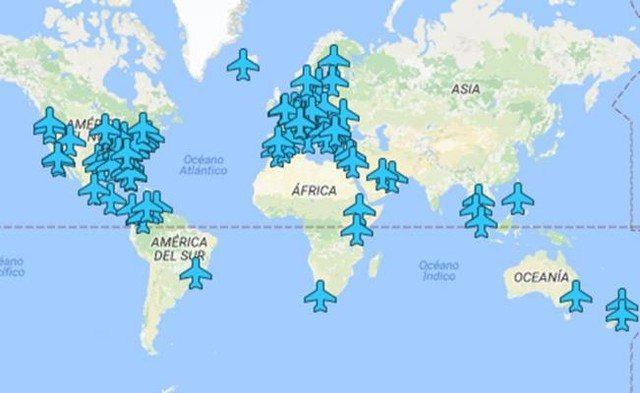 mapa que muestra las contraseñas wifi de todos los aeropuertos del mundo!!