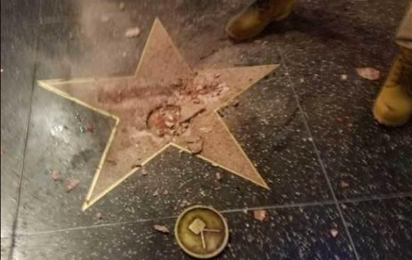 Destruyen estrella de Trump en Hollywood