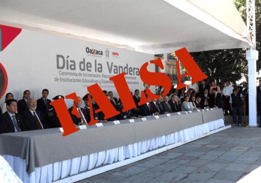 Circula falsa imagen del día de la bandera en Oaxaca