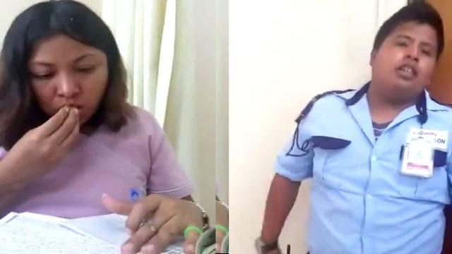 Doctora ignora a paciente por comer (Video)