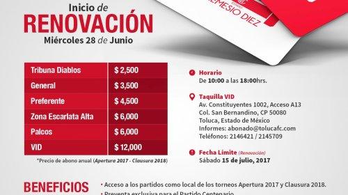 Toluca publica precios de sus abonos 17/18