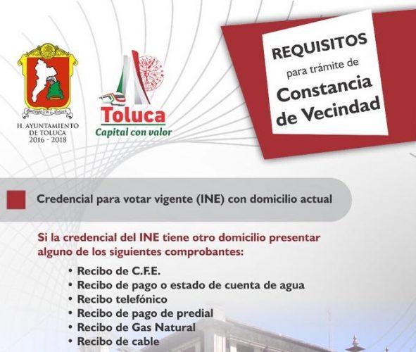 Expide Toluca Constancias de Vecindad con firma y sello digital