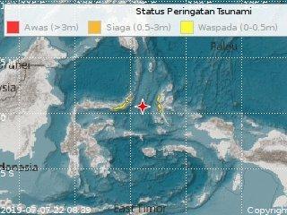Emiten alerta de tsunami tras terremoto magnitud 7.0 en Indonesia