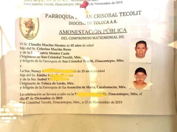 La diócesis de Toluca canceló una boda entre un hombre de 45 años y una menor de edad, que se realizaría durante el fin de semana en el municipio de Zinacantepec