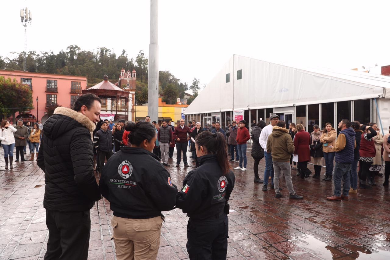 Participan con eficacia Servidores Públicos de Metepec en simulacro