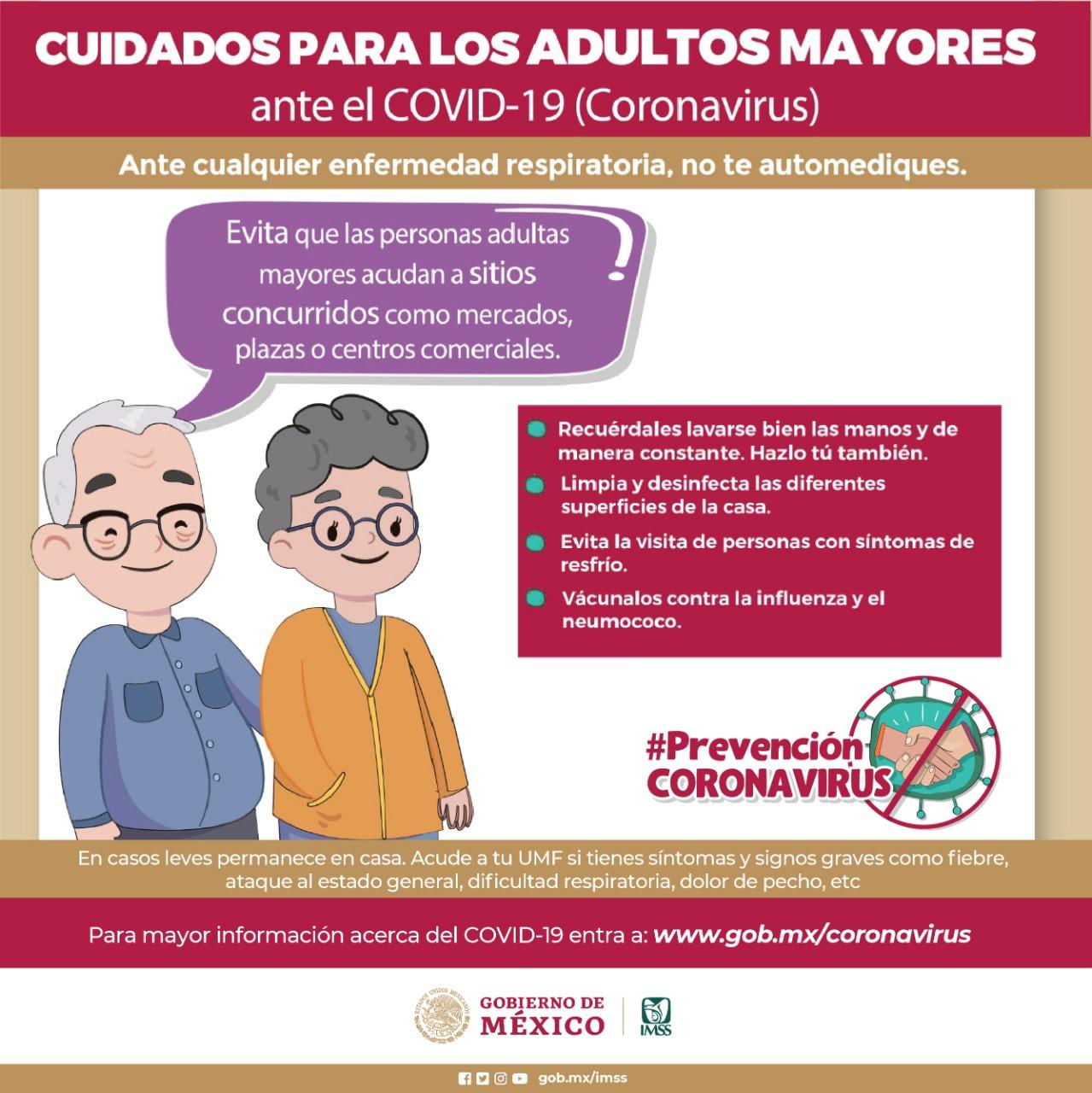Pide IMSS extremar precauciones con adultos mayores, a fin de evitar el contagio de COVID-19