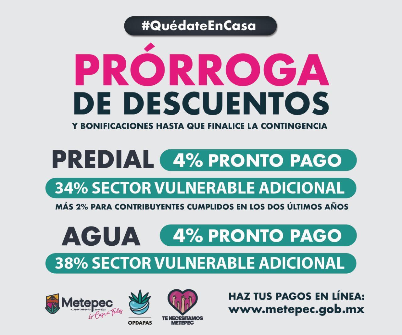 Vigente en Metepec los descuentos en predial y agua