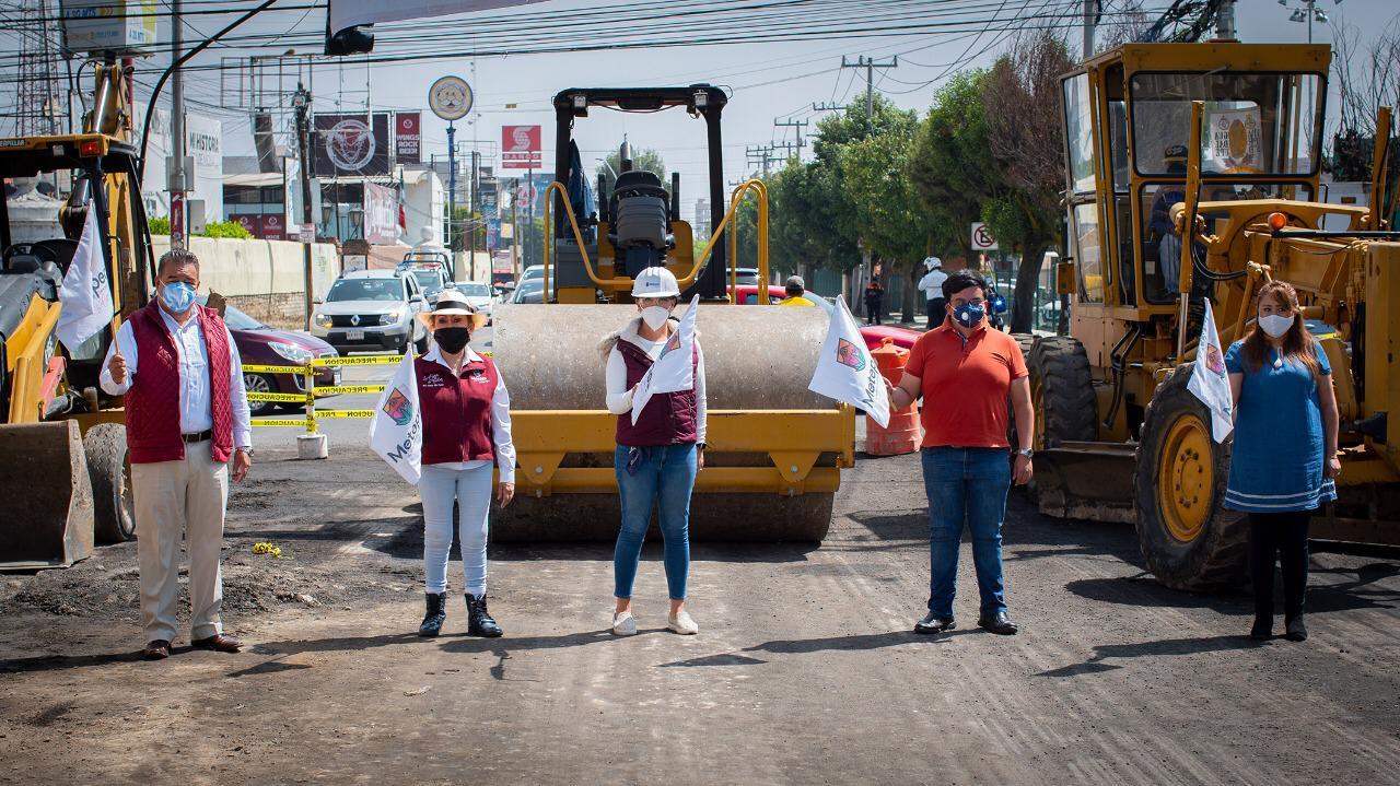 Inician trabajos de pavimentación en avenidas principales de Metepec