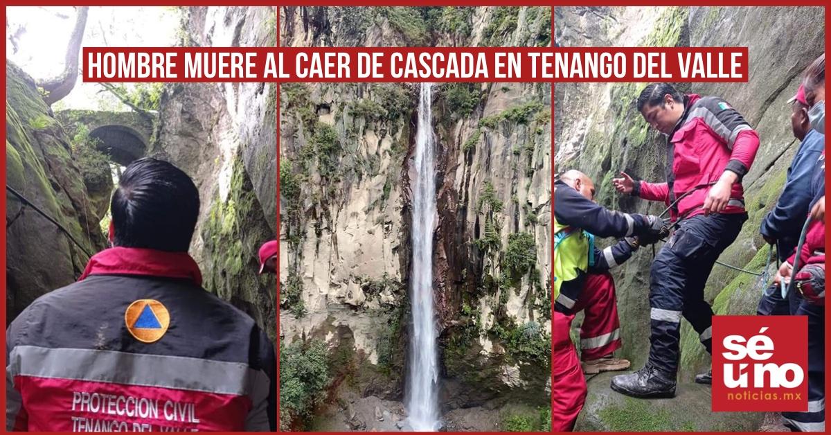 Hombre muere al caer de una cascada en Tenango del Valle