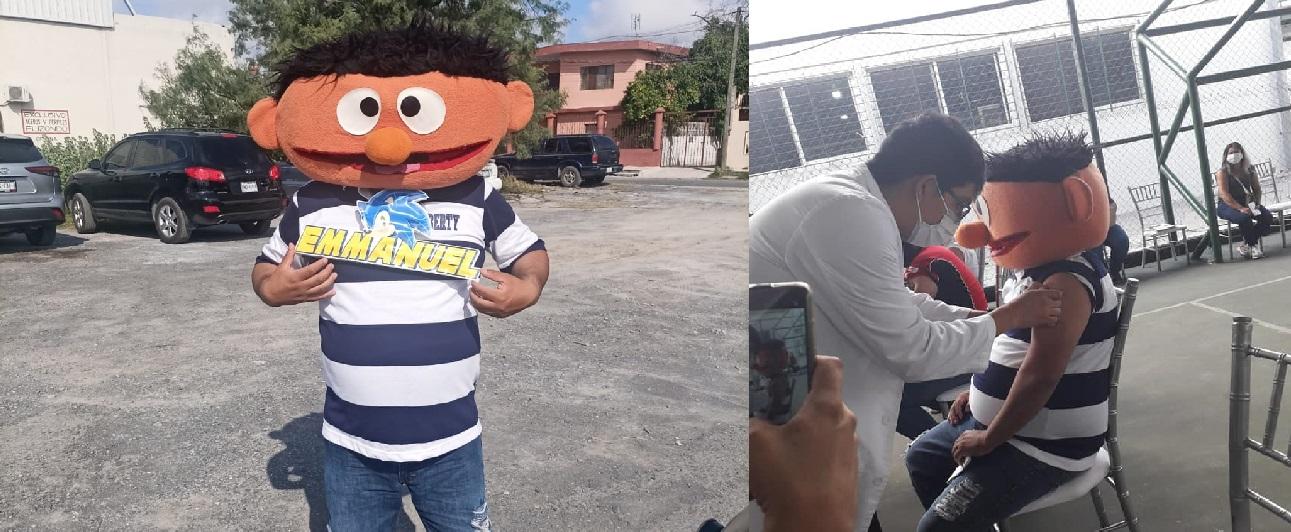 """Papá se vacuna disfrazado de """"Enrique"""" para hacer reír a su hijo fallecido"""