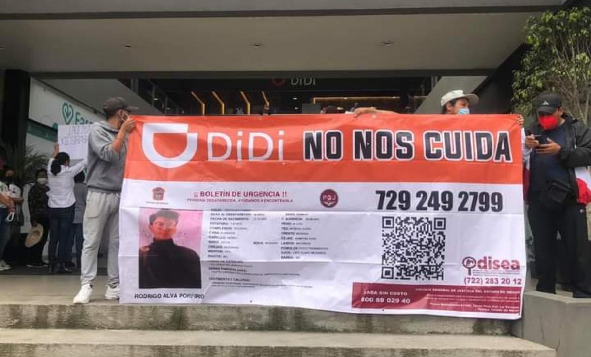 """Exigen a la empresa DIDI que brinde datos sobre """"Rodrigo"""", el joven desaparecido durante trayecto en Toluca"""