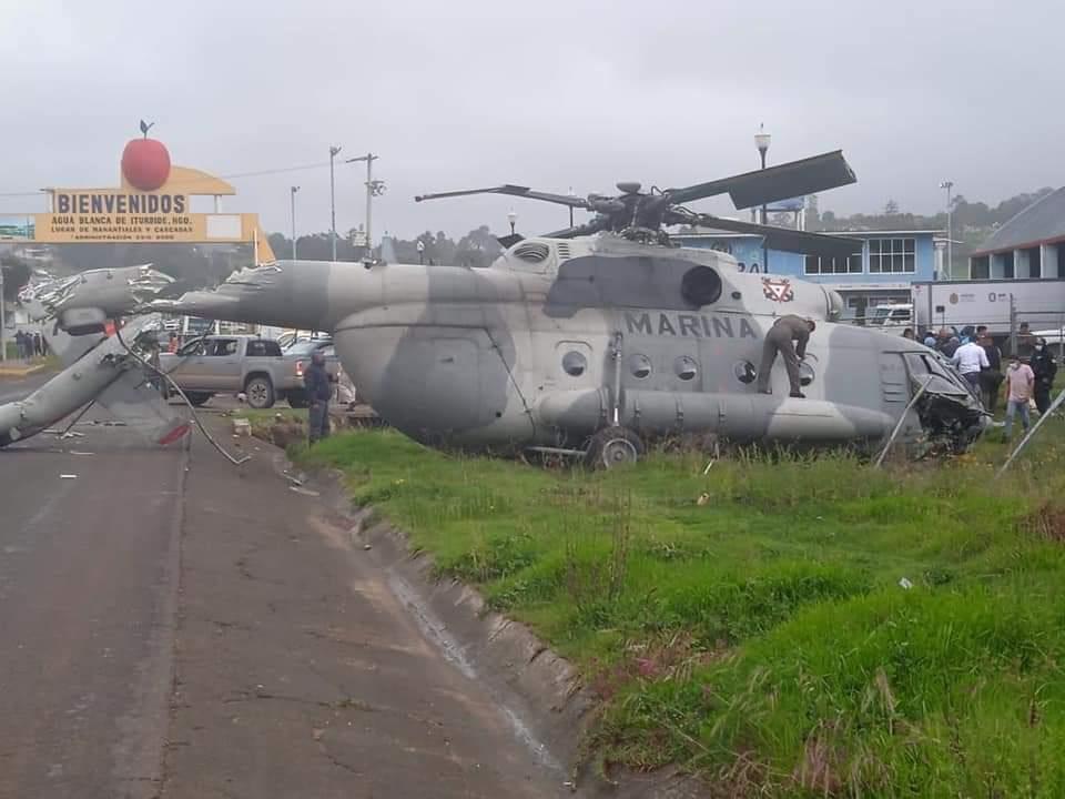 #Video Se desploma Helicóptero de la Marina en Agua Blanca