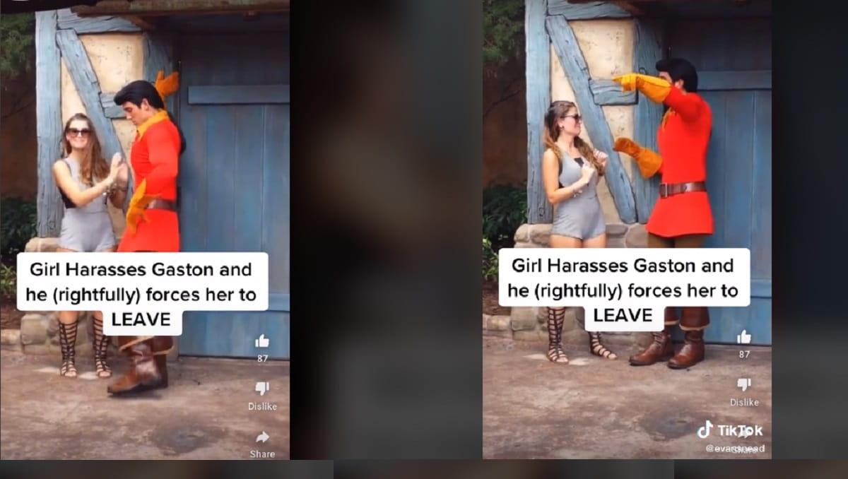 Exhiben a mujer tocando a trabajador de Disney disfrazado de Gaston