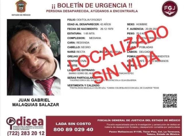 Localizan sin vida a hombre que estaba desaparecido en Toluca