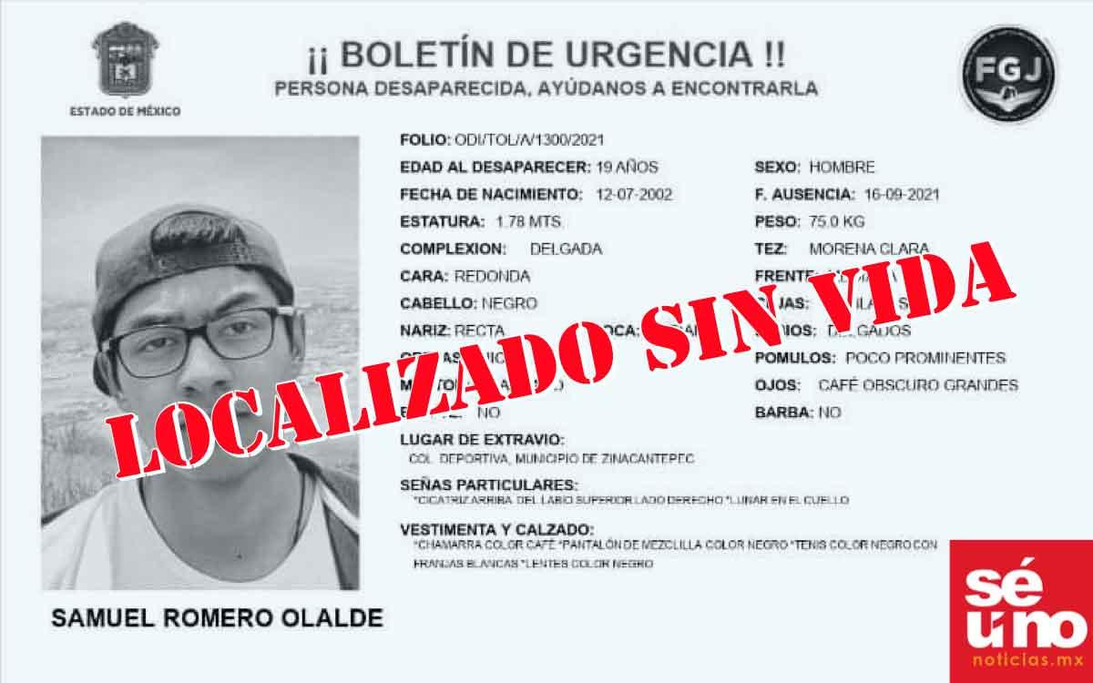 Hallan sin vida a joven desaparecido en Zinacantepec