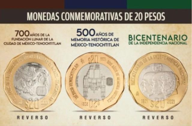 Tres de las monedas puestas en circulación hoy por Banxico son de cobre, aluminio y níquel (20 pesos), mientras que las otras tres son de plata (10 pesos).